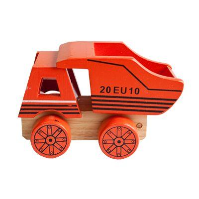 Bil i trä - lastbil med flak, orange