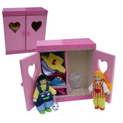 Klädskåp med 2 dockor och kläder
