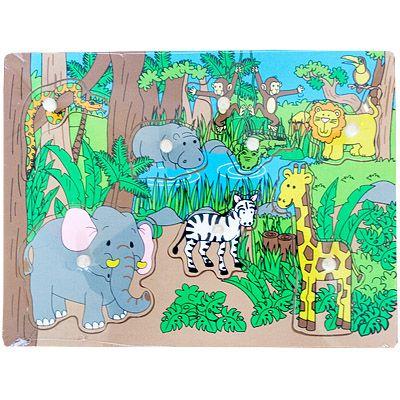 Knopp-pussel med djungeldjur