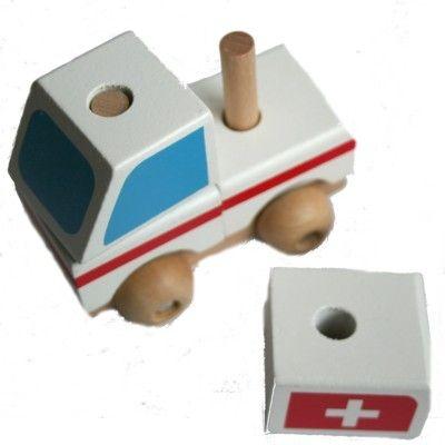 Träbil - Ambulans med klossar