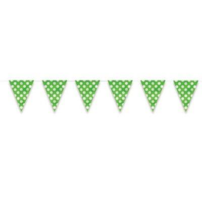 Flaggirlang/vimpel - lime med vita prickar