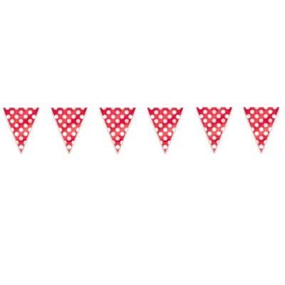 Flaggirlang/vimpel - röd med vita prickar