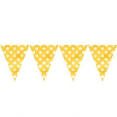 Flaggirlang/vimpel - gul med vita prickar