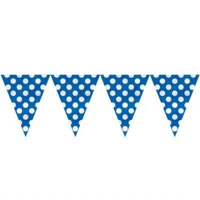 Flaggirlang/vimpel - blå med vita prickar