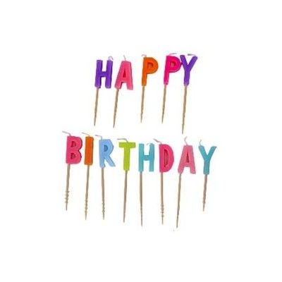 Tårtljus - Happy Birthday - rosa multi