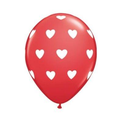 Ballonger - röd med vita hjärtan - 6 st
