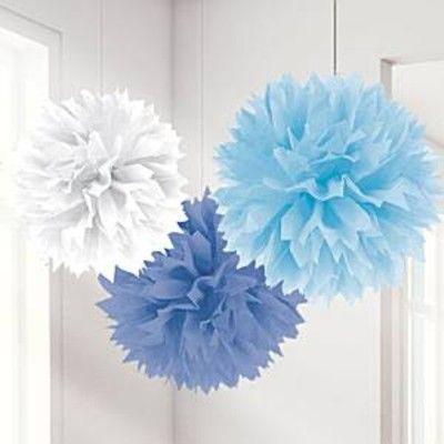 Pompoms - blå - 3 st