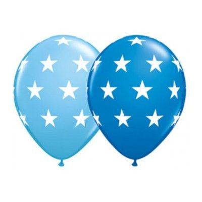 Ballonger - stora stjärnor - blå - 6 st