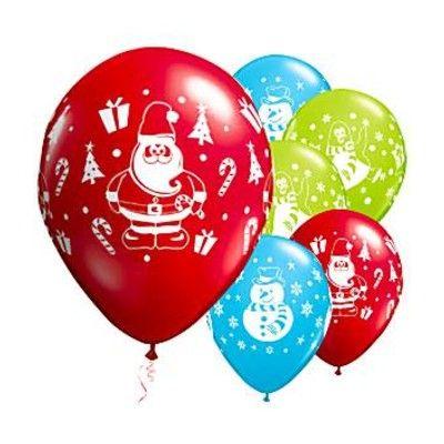 Ballonger - jul - röd/blå/grön - 6 st