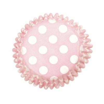 Muffinsformar - rosa med prickar - 54 st