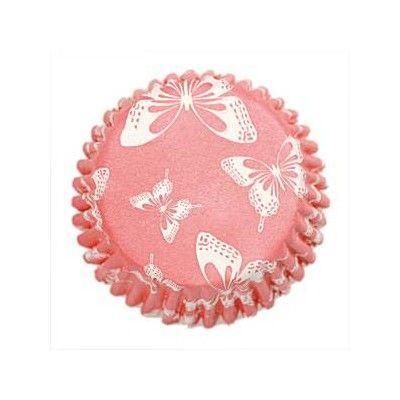 Muffinsformar - rosa med fjärilar - 54 st
