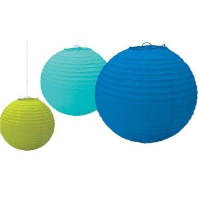 Papperslanternor - blå/turkos/grön
