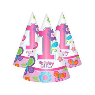 Partyhattar - Birthday Girl 1 år - 8 st