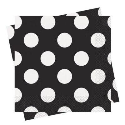 Kalasservetter - svart med vita prickar - 16 st