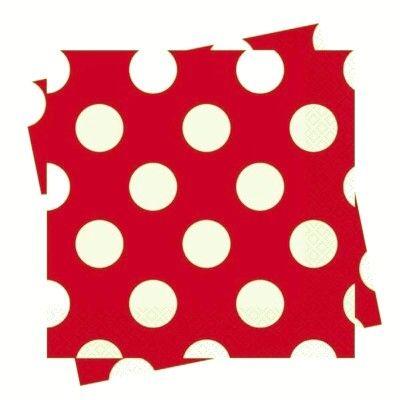 Kalasservetter - röd med vita prickar - 16 st