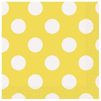 Kalasservetter - gul med vita prickar - 16 st