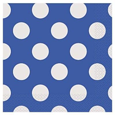 Kalasservetter - blå med vita prickar - 16 st