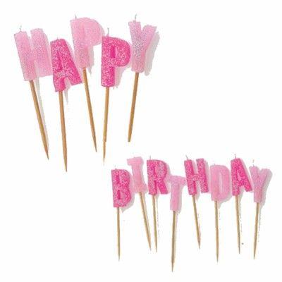 Tårtljus - Happy Birthday - rosa