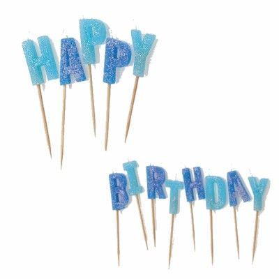 Tårtljus - Happy Birthday - blå