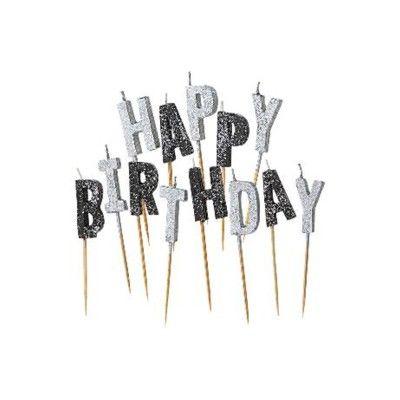 Tårtljus - Happy Birthday - silver/svart