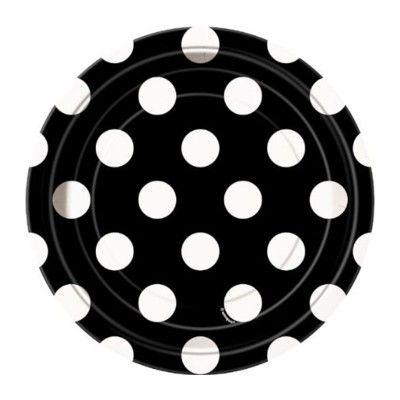 Kalastallrikar - svart med vita prickar - 8 st