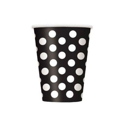 Kalasmuggar - svart med vita prickar - 6 st