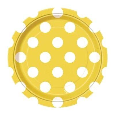 Kalastallrikar - gul med vita prickar - 8 st