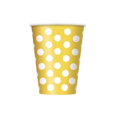 Kalasmuggar - gul med vita prickar - 6 st