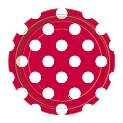 Kalastallrikar - röd med vita prickar - 8 st