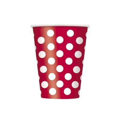 Kalasmuggar - röd med vita prickar - 6 st