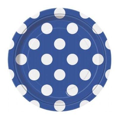 Kalastallrikar - blå med vita prickar - 8 st