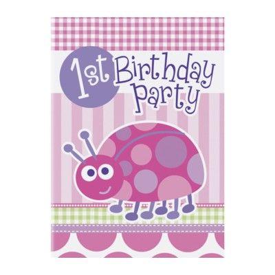 Inbjudningskort - 1 år - rosa nyckelpiga - 8 st