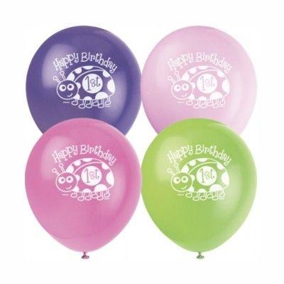 Ballonger - 1 år - rosa nyckelpiga - 8 st