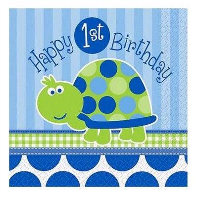 Kalasservetter - 1 år - blå sköldpadda - 16 st