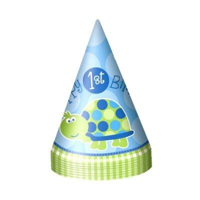 Partyhattar - 1 år - blå sköldpadda - 8 st