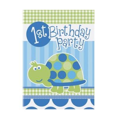 Inbjudningskort - 1 år - blå sköldpadda - 8 st