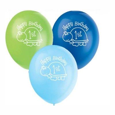 Ballonger - 1 år - blå sköldpadda - 8 st