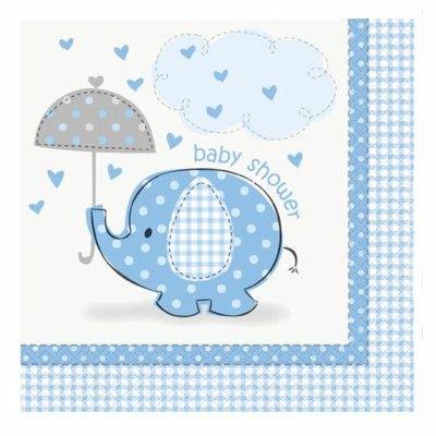 Kalasservetter - elefant - ljusblå - 16 st