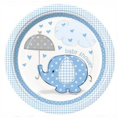 Kalastallrikar - elefant - ljusblå - 8 st