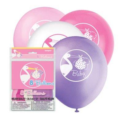 Ballonger - Stork med babynalle - rosa - 8 st
