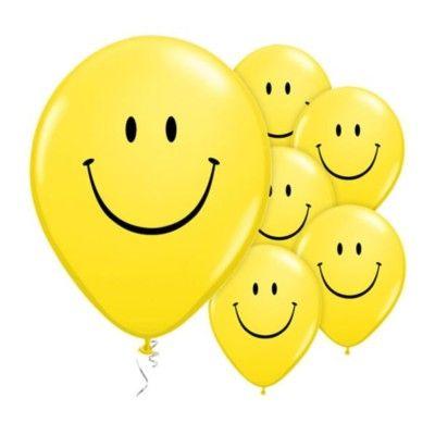 Ballonger - smile - gul - 6 st