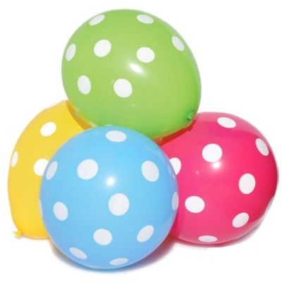 Ballonger - flera färger med vita prickar - 6 st