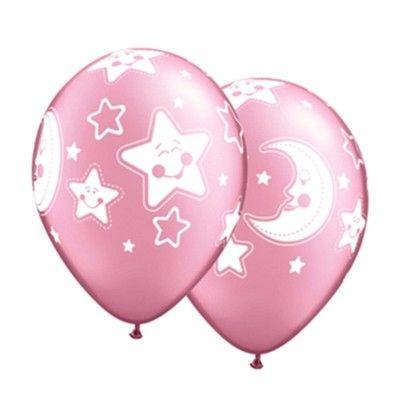 Ballonger - måne och stjärnor - rosa - 6 st