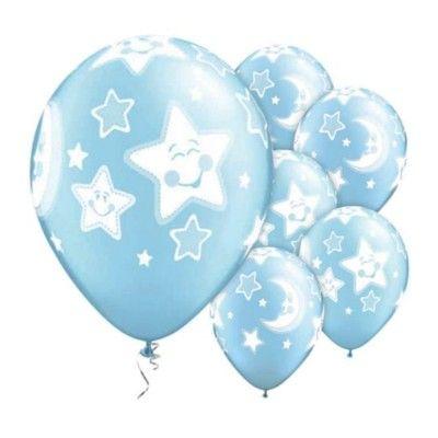 Ballonger - måne och stjärnor - blå - 6 st