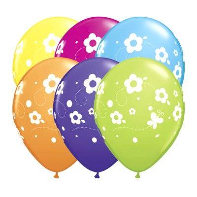 Ballonger - blommor och fjärilar - 6 st