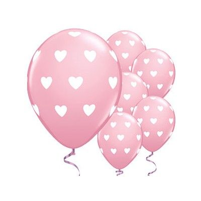 Ballonger - hjärtan - rosa - 6 st