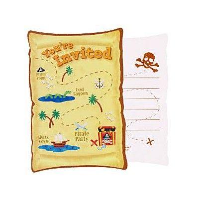 Inbjudningskort - piratskatten - 8 st