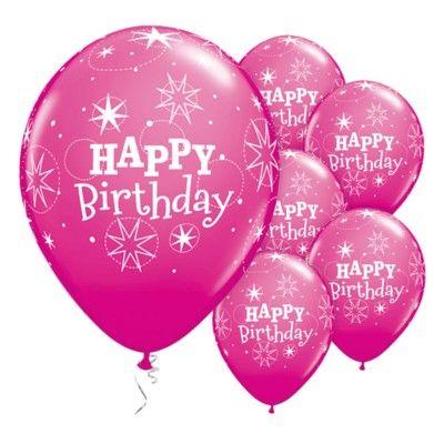 Ballonger - happy birthday sparkle - cerise - 6 st