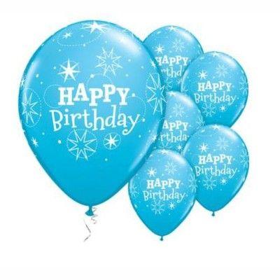 Ballonger - happy birthday sparkle - blå - 6 st