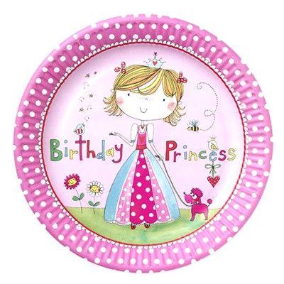 Kalastallrikar - Birthday Princess - 8 st